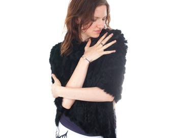 Sumptuous Women's Handmade Rabbit Fur Shawl | Cape | Poncho | Scarf | Black | Exquisitely Soft | Fantastic Gift |