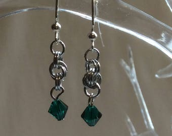 Double Spiral Chain Mail Earrings with Emerald Swarovski Crystal
