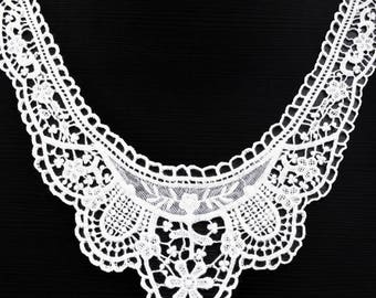 Adult white cotton guipure lace neck applique haberdashery