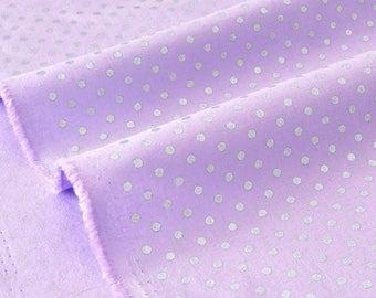 US fabric patchwork polka dot Silver 50cm x purple background