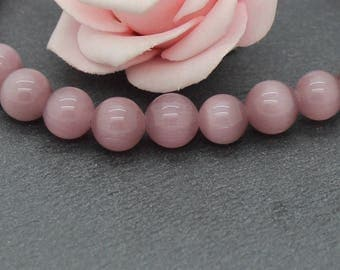 10 round cat eye beads 10 mm PV111 old pink color