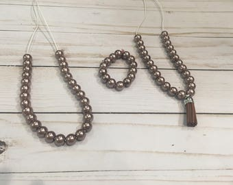 Brown Pearl Bitty Beads