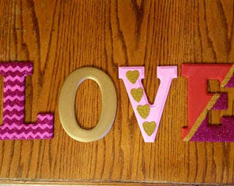 Valentines Day Decor, Valentines Day Sign, Love Decor, Wood Art, Monogram Letters, Wall Decor, Wedding Decor