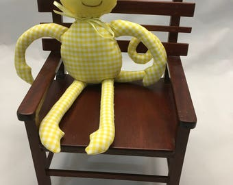 Handmade Gingham Monkey - with Scarf