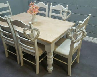 Chunky Farmhouse 5ft Shabby Chic table Set