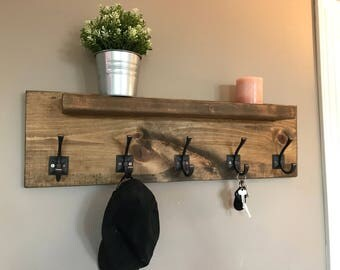 Grayson Entryway Coat Rack with Shelf- Wall Decor 5 Hook Hanger- READY TO SHIP