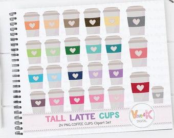 Coffee Clipart, Travel Mug Clipart, Latte Mug Clipart, Tea clipart, Mug Clipart, Coffee Cups Clipart, Coffee Addict Clipart, Commercial Use