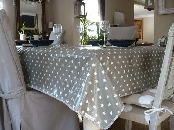 nappe toile coton enduit cir e grise etoiles blanches en. Black Bedroom Furniture Sets. Home Design Ideas