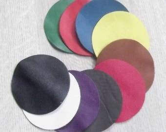 Set of 10 circles in various colors leather.