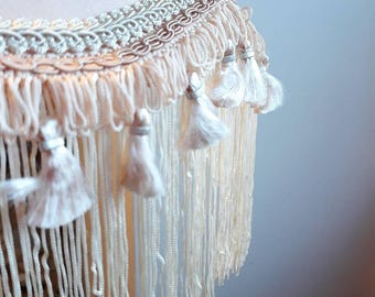 vintage Downton Abbey style apricot unlined table tassel fringe lampshade
