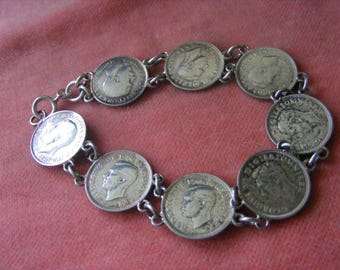 14.2g Vintage Sterling Silver Charm Bracelet - 8 Three pence pieces 1919, 3 x 1940, 1941, 1937, 1939, 1918,