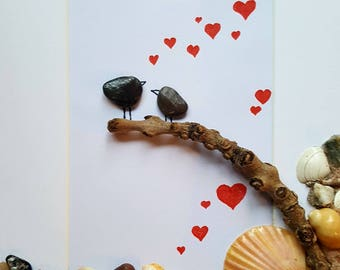 Cornish Pebble Art Picture Love Birds on Driftwwod Red Love Hearts Valentines Day Unique Handmade Box Framed Art