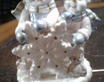 Vintage Christmas snowman music box ornament decoration
