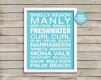 Manly Beach Poster, Freshwater Beach Poster, Northern Beaches Poster, Digital Download, Typography Art Print, Home Decor, Gift,