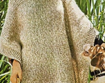 Knitted Poncho Pattern, Knitting Pattern. Instant Download.