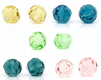 Set of 20 crystal glass beads faceted 4mm
