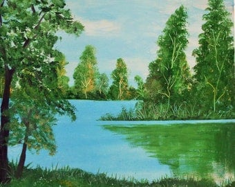 Nature Lake Oil Painting original gift for Christmas