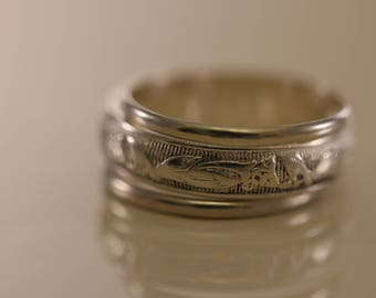Sterling Silver Floral and Ribbed Design 3-Ring Set, Sterling Silver Band Ring, Solid Silver Rings, Classic Silver Bands