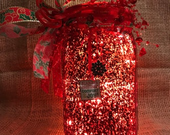 Christmas Lighted Large Mason Mercury Jar with Warm White Battery Operated LED Lights