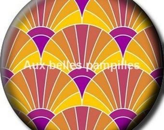 Round cabochon resin 25 mm - art deco (1204) - Paste vintage 20s, geometric pattern