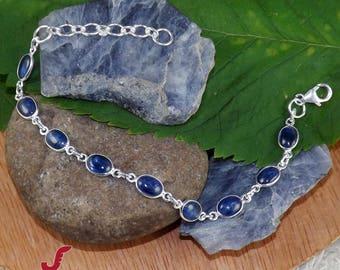 925 Silver Jewelry, Blue Kyanite Bracelet, Kyanite Jewelry, Handmade Bracelet, Bezel Bracelet, Gemstone Bracelet, Adjustable Bracelet, Gifts