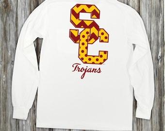 USC Trojans Football Unisex 100% Cotton Long Sleeve Pocket T-shirt