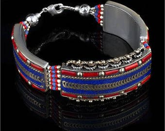 Bracelet, silver vintage handmade jewellery, lapis lazuli, coral