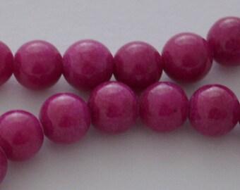 10 pearls natural jade 6 mm Fuchsia color