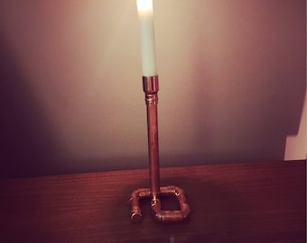 Single Copper Pipe Candle Holder