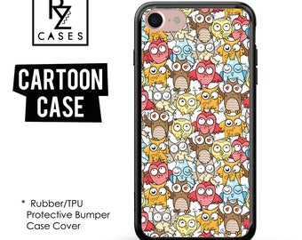 Owl Phone Case, Birds Phone Case, iPhone 7, Cute Animal Case, Owl Case, Gift for Her, iPhone 7 Plus, Cartoon Case,Rubber, Bumper