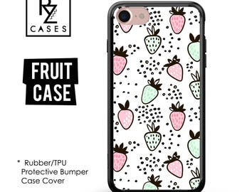 Fruit Phone Case, Strawberry Phone Case, Summer Case, iPhone 7, Gift for Her, iPhone 7 Plus, iPhone 6S, Rubber Case, Bumper Case