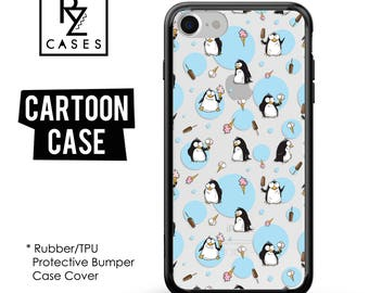 Penguin Phone Case, Cute Phone Case, Cartoon Phone Case, iPhone 7, Animal, Ice Cream, Gift for Her, iPhone 7 Plus, iPhone 6S, Rubber, Bumper