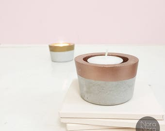 Concrete Tealight Candle holder/ Concrete decor/ Concrete candle holder/ industrial decor/ Rosegold/ Gold/ Silver/