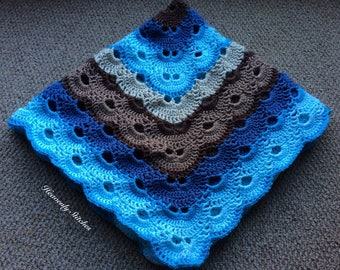 Crochet baby boy blanket-great for baby shower gift,perfect for crib