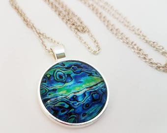 Abalone Seashell Necklace Glass Cabochon Jewelry Mermaid Pendant Blue Green Turquoise Photo
