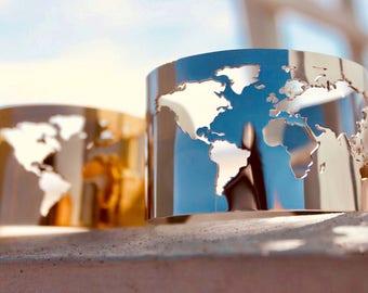 Travel Bracelet / Globe Bracelet / World Map Bracelet / Cuff Bracelet / Map Bracelet / Sale