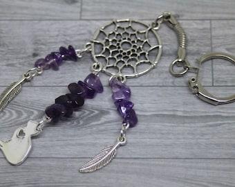 Cat Keyring, Cat Lover Gift, Cat Keychain, Amethyst Keyring, Purple Jewelry, Dreamcatcher Keyring, Dreamcatcher Keychain, Amethyst Crystal,