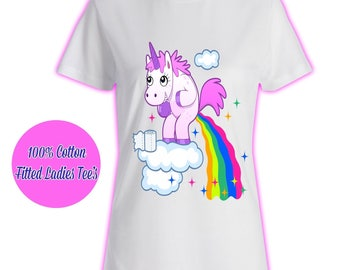 Womans Ladies Girls Tumblr Unicorn Rainbow Pink Glitter Princess Celeb Pug Kids 2 T Shirt