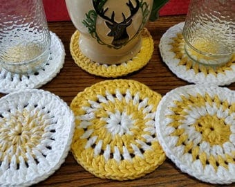 Coaster set, handmade by crochet, yellow and white, set of 6