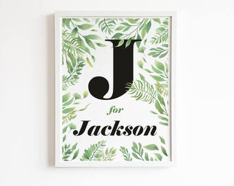 Botanical nursery print, personalized boy name sign, baby name art, custom name nursery decor, baby boy birthday gift, personalized sign