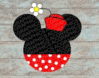 Retro Minnie Mouse Head SVG, DXF, JPEG, and Studio Downloads