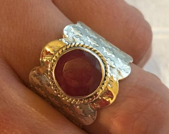 Ring natural ruby ring, 925 sterling silver - size 60/61