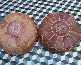 set of 2 Moroccan pouf, Moroccan leather pouf, Moroccan pouf, poufs, moroccan ottoman, ottoman, Moroccan poufs, pouffes