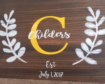 Personalized Family Monogram Home Decor Sign