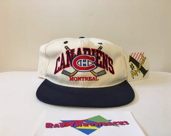 New Dead Stock Rare Vintage Montreal Canadiens NHL White/Blue #1 Apparel Snapback Hat w/ Original Tag