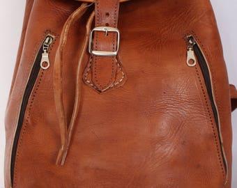 067 Large Vintage Style Real Genuine Leather Bag Rucksack Backpack Brown