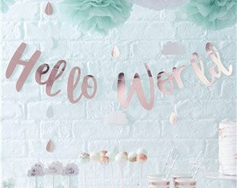 Baby Shower Party   Rose Gold Hello World Bunting   Baby Shower Decoration   Baby Shower Banner   Rose Gold Bab