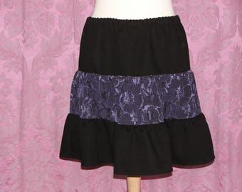 Black and purple skirt with gathered sides