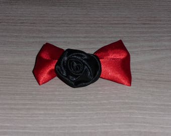 Red bow and black flower hair clip