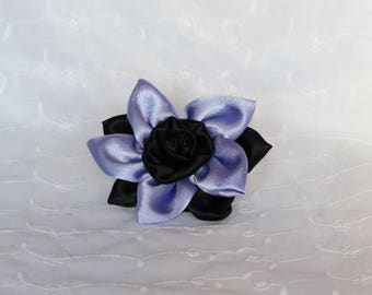 Purple and black flower hair clip